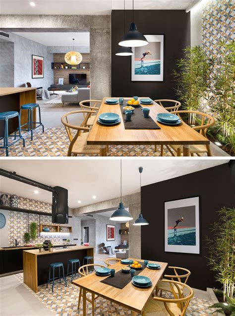 kitchen decorative tiles concrete wood tiles and black accents are all combined 1074