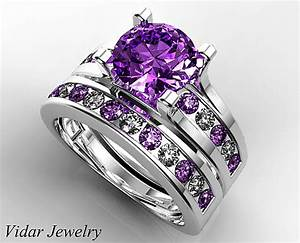 Amethyst bridal ring set vidar jewelry unique custom for Amethyst diamond wedding ring set