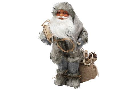 Weihnachtsmann 40 Cm Nordisch Grau Mit Schlitten Santa