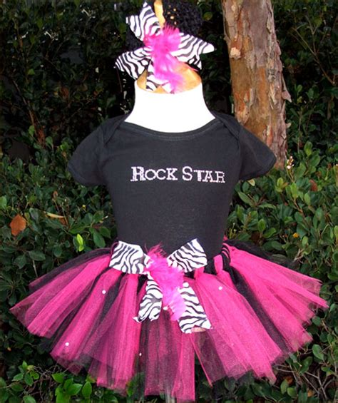 rock pink n black tutu and headband luulla