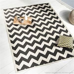 decorationcom tapis effet sisal tiss chevron noir et With tapis chevron gris et blanc