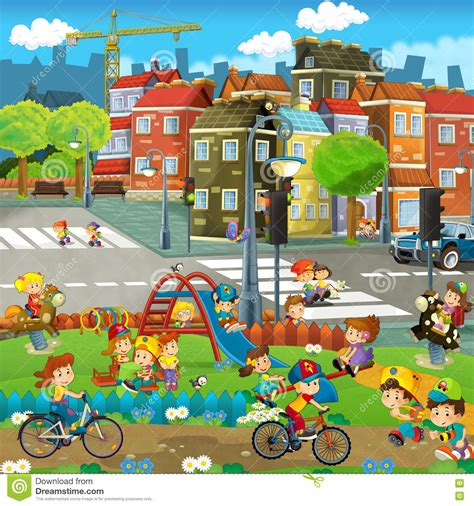 cartoon happy scene   playground   city kids