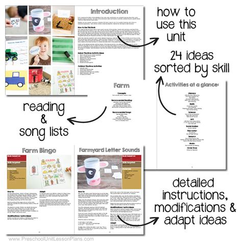 a year of preschool lesson plans 20 preschool theme units 616 | sneak peak preschool unit lesson plans