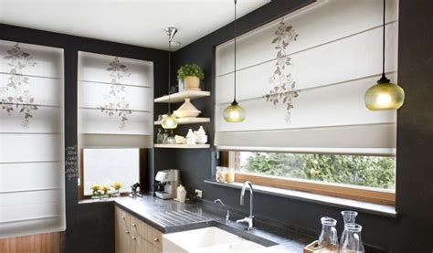 Contemporary Kitchen Curtains Roll Up