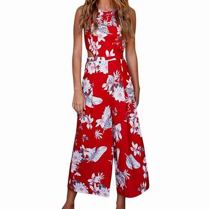 Jumpsuit Floral Sleeveless Overall Casual Leg Wide