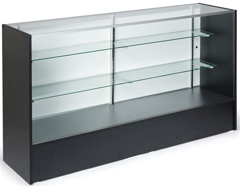 6 Black Showcases Tempered Glass Retail Counter