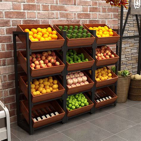 shelf shelf shelf display cabinet fruit shop fruit rack steel wooden rack vegetable shelf