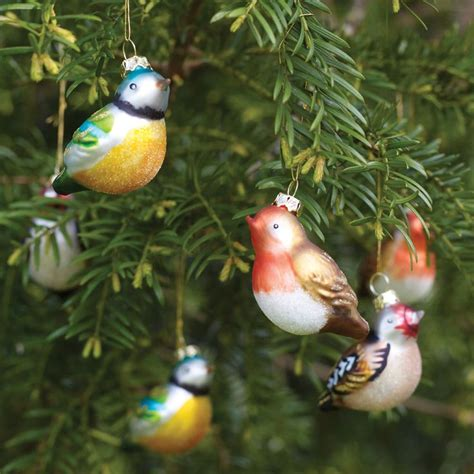 christmas tree decorations glass birds holliday decorations