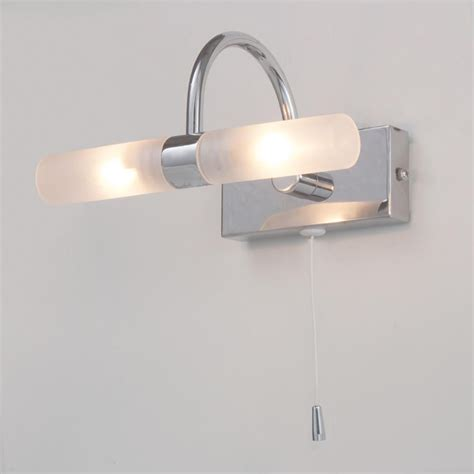 crista bathroom wall light with pull cord chrome from