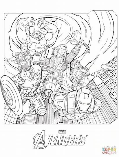 Marvel Coloring Avengers Pages Printable Knockout Sheets