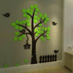 aliexpress com buy new arrival 3d crystal acrylic three dimensional wall stickers tree bird