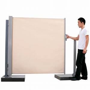 Brise Vue Sur Pied : paravent r tractable beige h 160 cm toile en polyester ~ Premium-room.com Idées de Décoration