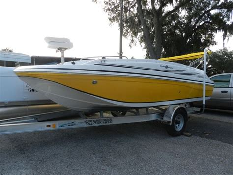 Deck Boat Fishing Package by Sundeck Sport 188 Hurricane Deck Boat Yellow With Fishing