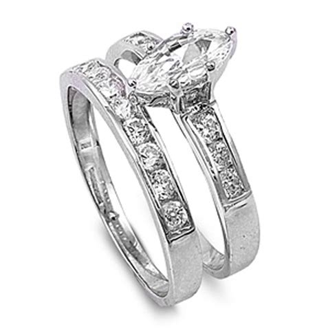 sterling silver marquise engagement ring wedding band bridal cz sizes 4 10 ebay