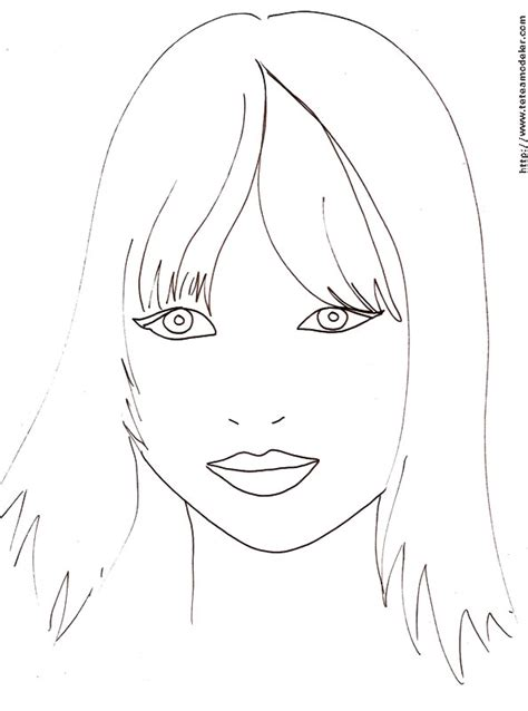 dessin facile fille coloriage visage a imprimer