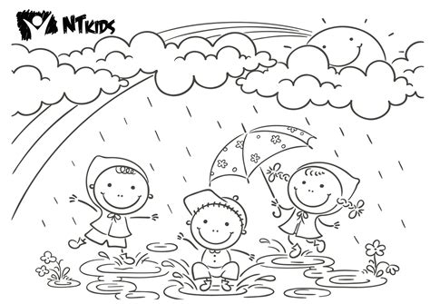 Coloring Page Duck With Umbrella