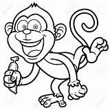 Monkey Coloring Cartoon Banana Macaco Colorir Cartoons Outline Vector Animados Livro Dibujos Monkeys Boneco Um Desenhos Ilustracao Imagem Mono Vetor sketch template