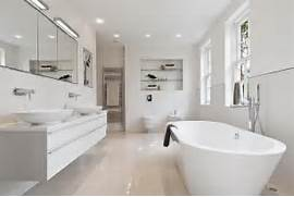 White Bathroom Modern Contemporary Minimalist Freestanding Bath Side White Bathrooms And Mirrors Edge Evokes A Delicate Look In This Fresh Bathroom White Elegance Bathroom White Elegance Bathroom White Elegance