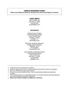 How Do You Type References For A Resume by Reference Sheet For Resumes Offplay Khafre Us