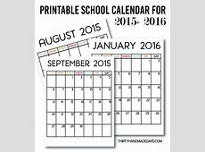 Printable School Calendar for 20152016 Download our free
