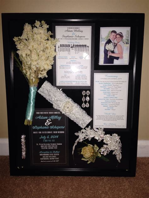 wedding shadow box put invite front    programs