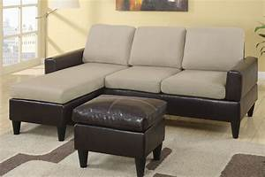 Beverly black faux leather sectional sofa with ottoman for Small beige sectional sofa