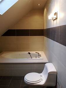 Small bathroom with slanted ceilings home projects decor for Small attic bathroom sloped ceiling