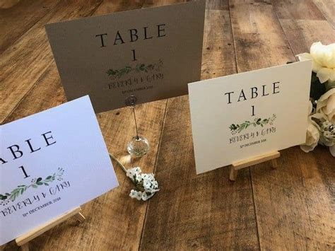 A5/A6 Personalised Wedding Table Name / Number Cards
