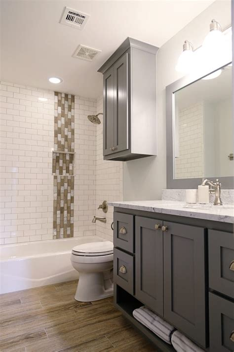 Extraordinary Subway Tiles Bathroom with Vanity Double