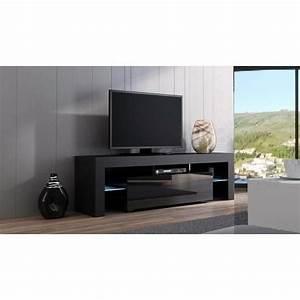 Meuble Tv Noir : meuble tv spider noir laqu et noir mat 160 cm achat vente meuble tv meuble tv spider noir ~ Teatrodelosmanantiales.com Idées de Décoration