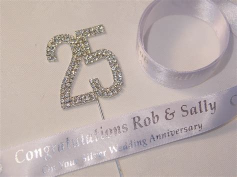 silver wedding anniversary cake topper ribbon