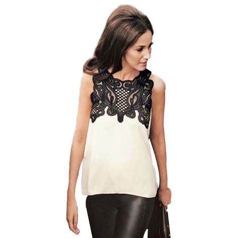 blouse wanita froral lace chiffon size  white