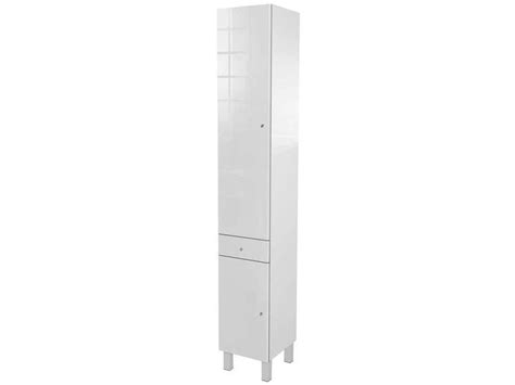 colonne de salle de bain 2 portes 1 tiroir soramena coloris blanc vente de armoire colonne