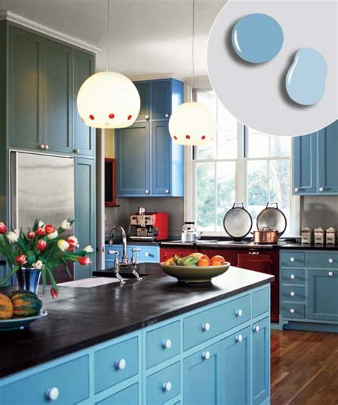 bold blue soft blue  kitchen cabinet color combos