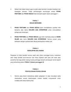 contoh surat perjanjian perkongsian perniagaan