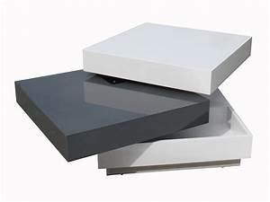 Table Basse Blanc Laqué Et Bois : table basse carr e plateaux pivotants bois laqu l60cm amber blanc gris ~ Teatrodelosmanantiales.com Idées de Décoration