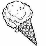 Ice Cream Cone Food Coloring Pages Cones Snow Items Colouring Template Sheets Cookie Doodle Drawings Birthday Happy Cake Coloringkidz Strawberry sketch template