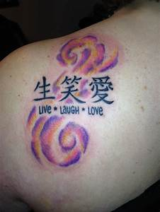 Live Laugh Love Chinese Symbols Tattoo On Back Shoulder ...