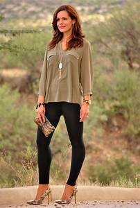 Leggings olive green blouse and heels. Fall outfit.   Lovvveee   Pinterest   Fall outfits ...