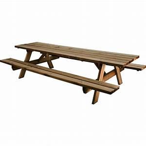 Table Bois Pique Nique : table pique nique en bois avec bancs longueur 300 cm garden 300b bricozor ~ Melissatoandfro.com Idées de Décoration