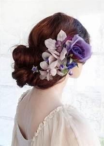 Bridal Headpiece Purple Hair Flower Luxury Bridal Hair