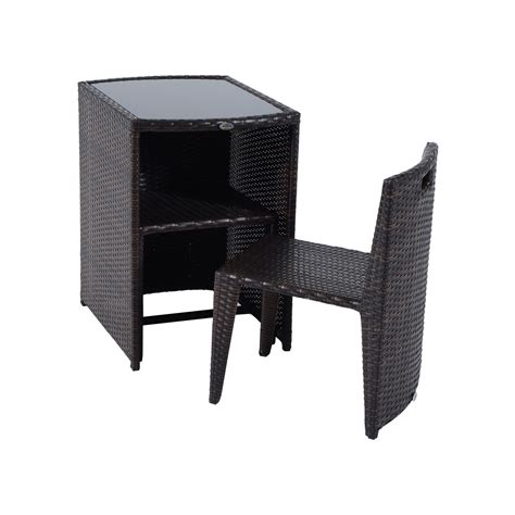 outdoor wicker table and chairs outsunny 3 piece chair and table rattan wicker patio