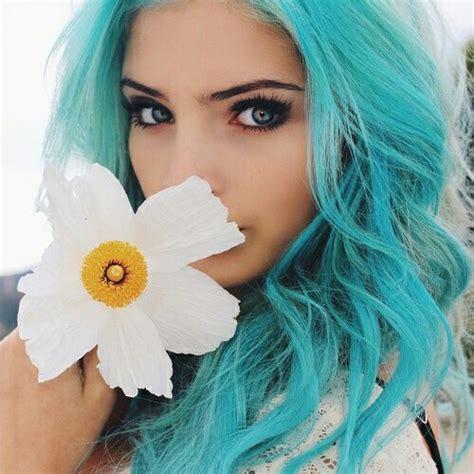 Blue Hair Wiki by Image Blue Blue Hair Flower Favim 3075125