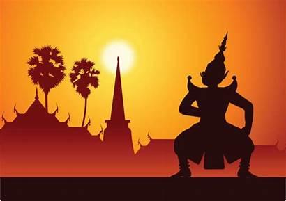 Ramayana Illustrations Clip Vector Thai Cartoons
