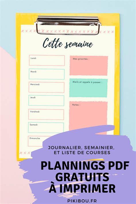 planning journalier semainier liste de imprimer