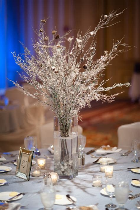 winter branch centerpieces ruffled 174 ced branches and snow with pine cone branches wedding ideas pinterest recycle