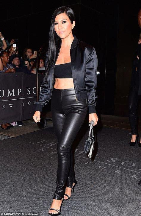 Liquid leggings, bandeau, bomber jacket | Kardashian style ...