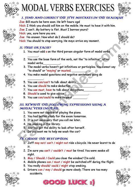 modal verbs esl worksheet by meyling