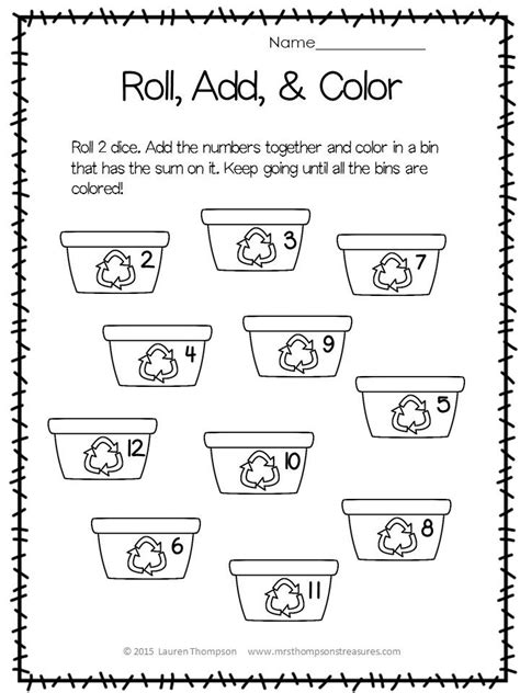 earth day math activities for preschoolers free roll add color for earth day kindergartenklub 736