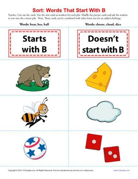 words starting with b beginning consonant worksheets 115 | sort words that start with b